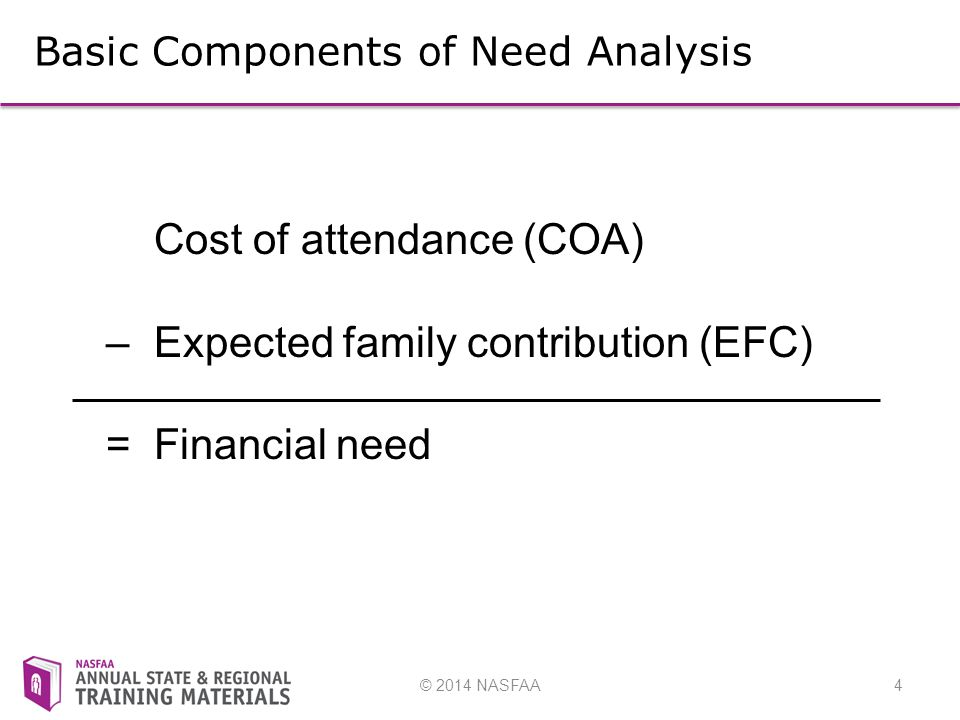 © 2014 NASFAA4 Basic Components of Need Analysis Cost of attendance (COA) – Expected family contribution (EFC) = Financial need