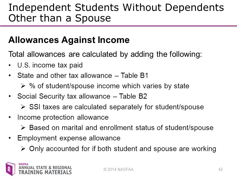 © 2014 NASFAA42 Independent Students Without Dependents Other than a Spouse Allowances Against Income Total allowances are calculated by adding the following: U.S.