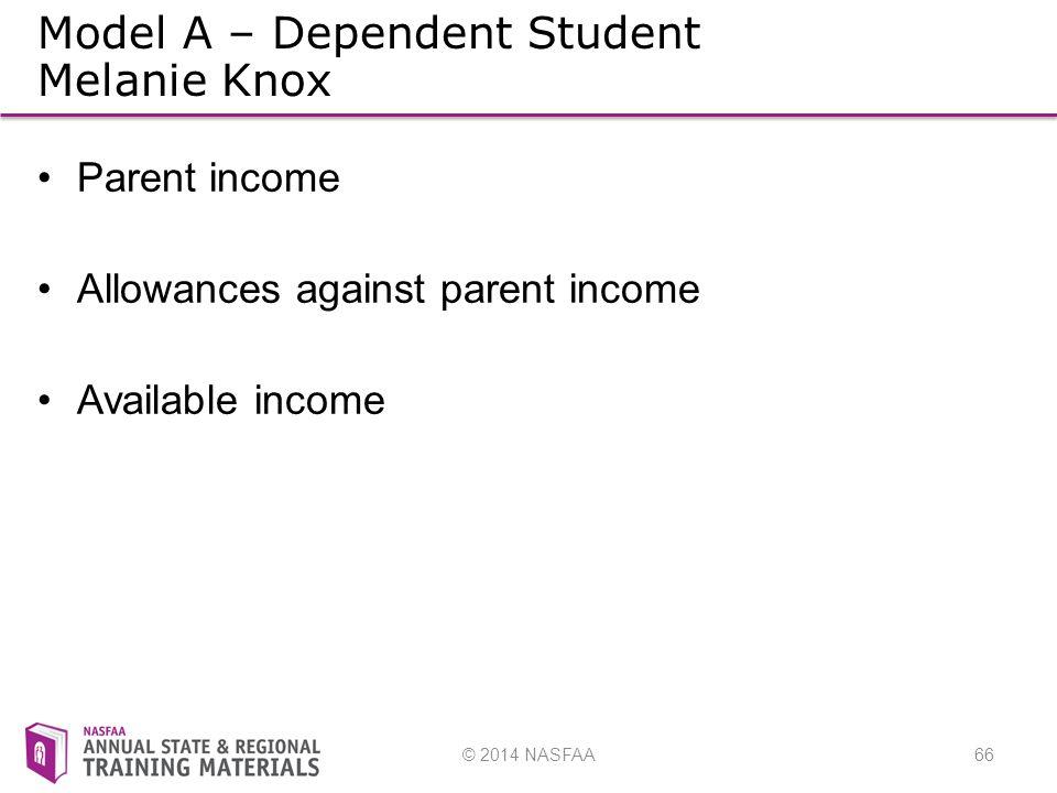 © 2014 NASFAA66 Model A – Dependent Student Melanie Knox Parent income Allowances against parent income Available income