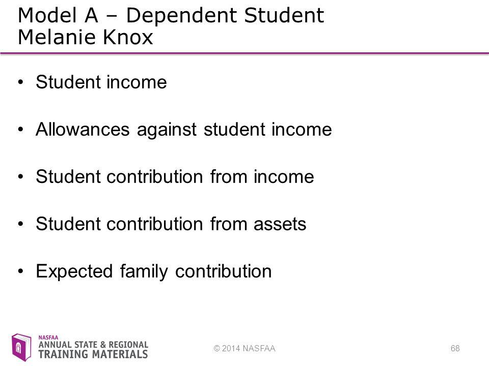 © 2014 NASFAA68 Model A – Dependent Student Melanie Knox Student income Allowances against student income Student contribution from income Student contribution from assets Expected family contribution