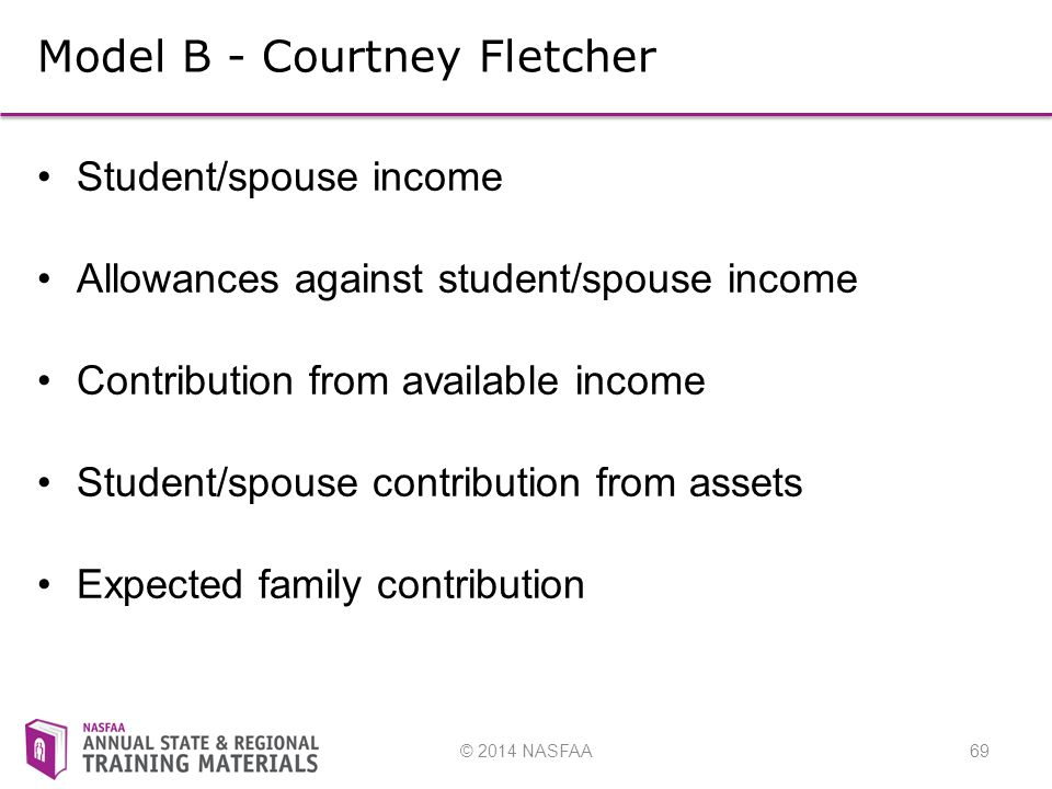 © 2014 NASFAA69 Model B - Courtney Fletcher Student/spouse income Allowances against student/spouse income Contribution from available income Student/spouse contribution from assets Expected family contribution