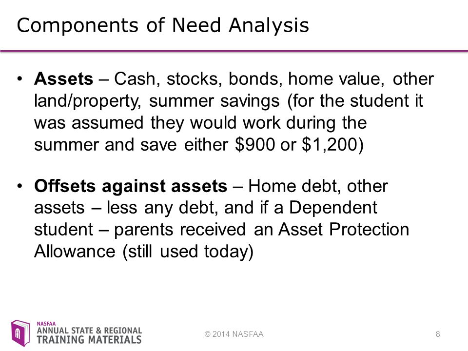 © 2014 NASFAA8 Components of Need Analysis Assets – Cash, stocks, bonds, home value, other land/property, summer savings (for the student it was assumed they would work during the summer and save either $900 or $1,200) Offsets against assets – Home debt, other assets – less any debt, and if a Dependent student – parents received an Asset Protection Allowance (still used today)