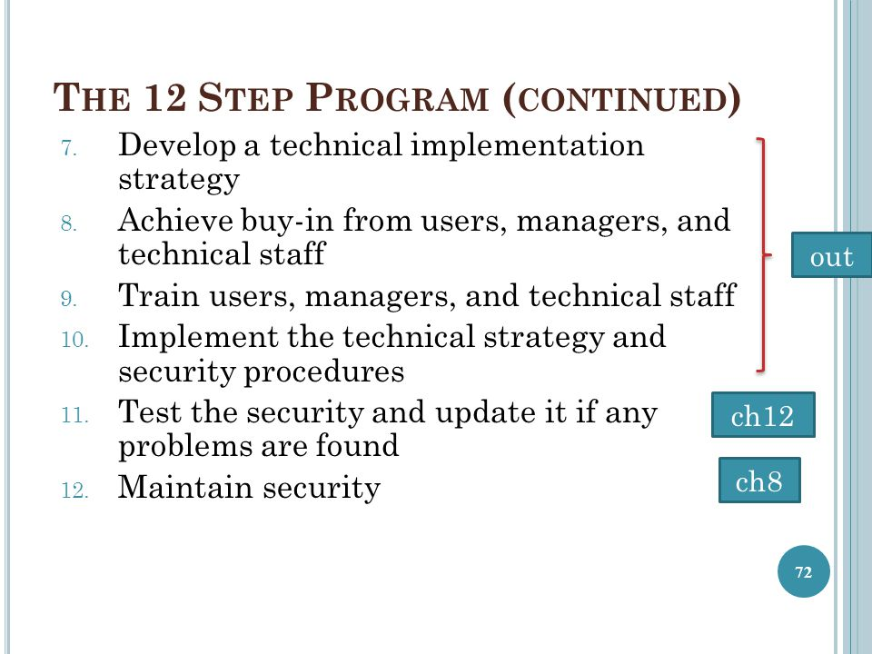T HE 12 S TEP P ROGRAM ( CONTINUED ) 7. Develop a technical implementation strategy 8. Achieve buy-in from users, managers, and technical staff 9. Tra