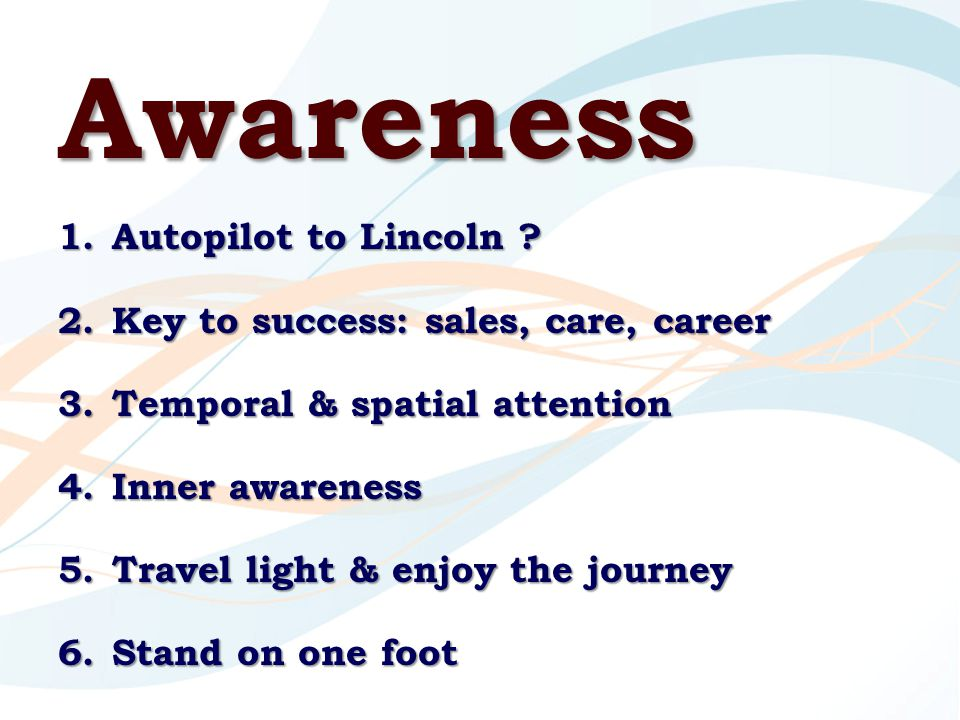 Awareness 1.Autopilot to Lincoln .
