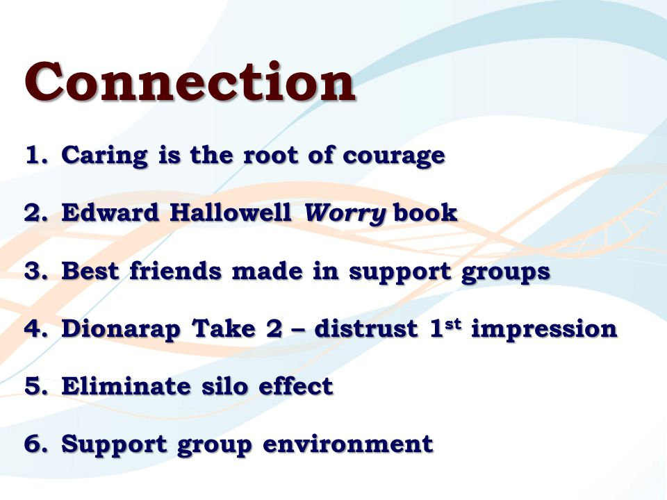 Connection 1.Caring is the root of courage 2.Edward Hallowell Worry book 3.Best friends made in support groups 4.Dionarap Take 2 – distrust 1 st impression 5.Eliminate silo effect 6.Support group environment