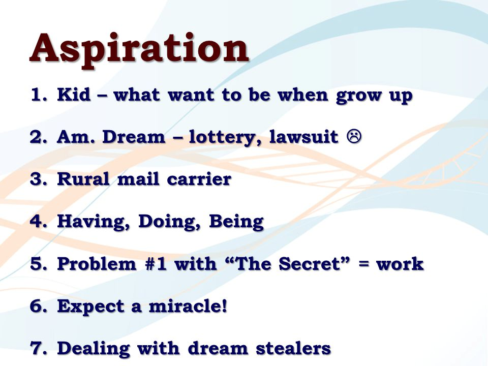 Aspiration 1.Kid – what want to be when grow up 2.Am.