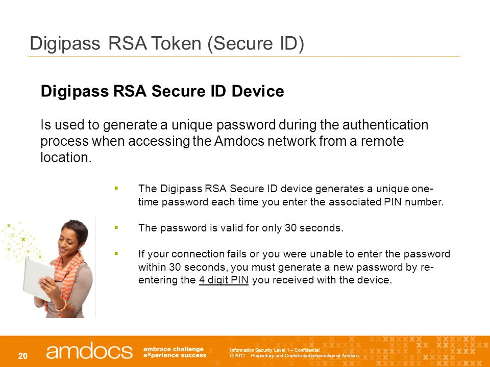 Information Security Level 1 – Confidential © 2012 – Proprietary and Confidential Information of Amdocs 20 Digipass RSA Token (Secure ID) Digipass RSA