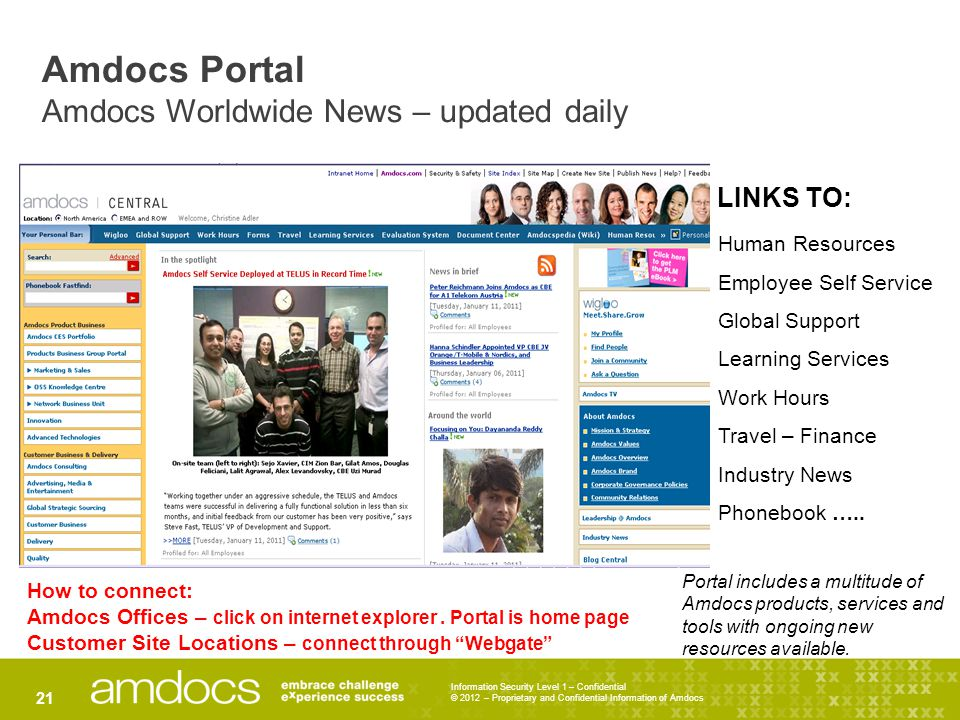 Information Security Level 1 – Confidential © 2012 – Proprietary and Confidential Information of Amdocs 21 Amdocs Portal Amdocs Worldwide News – updat