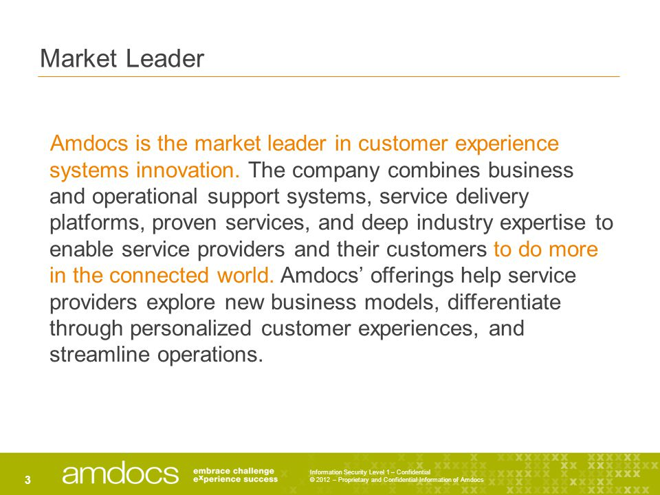 Information Security Level 1 – Confidential © 2012 – Proprietary and Confidential Information of Amdocs 3 Market Leader Amdocs is the market leader in