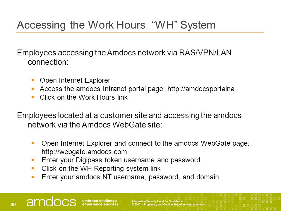 "Information Security Level 1 – Confidential © 2012 – Proprietary and Confidential Information of Amdocs 30 Accessing the Work Hours ""WH"" System Employ"