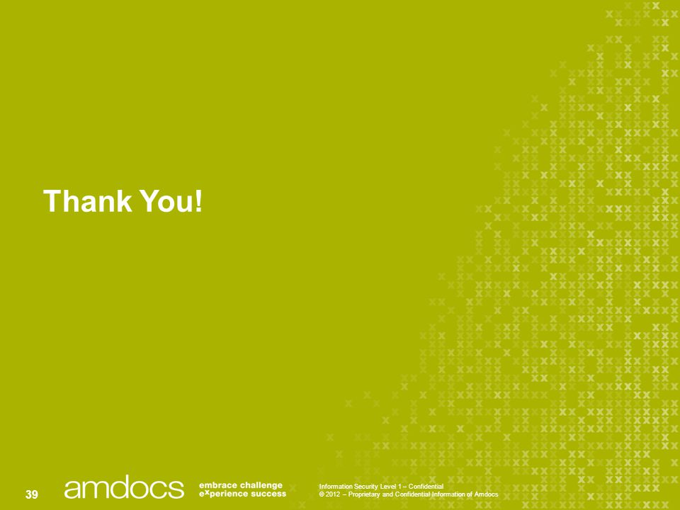 Information Security Level 1 – Confidential © 2012 – Proprietary and Confidential Information of Amdocs 39 Thank You!