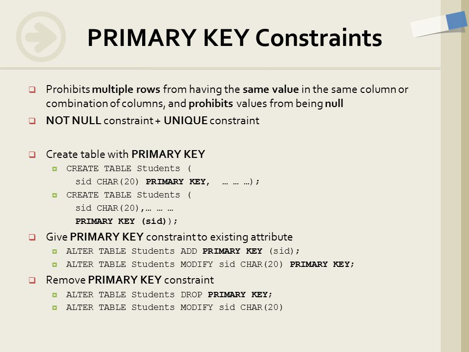 Prohibits multiple rows from having the same value in the same column or combination of columns, and prohibits values from being null  NOT NULL constraint + UNIQUE constraint  Create table with PRIMARY KEY  CREATE TABLE Students ( sid CHAR(20) PRIMARY KEY, … … …);  CREATE TABLE Students ( sid CHAR(20),… … … PRIMARY KEY (sid));  Give PRIMARY KEY constraint to existing attribute  ALTER TABLE Students ADD PRIMARY KEY (sid);  ALTER TABLE Students MODIFY sid CHAR(20) PRIMARY KEY;  Remove PRIMARY KEY constraint  ALTER TABLE Students DROP PRIMARY KEY;  ALTER TABLE Students MODIFY sid CHAR(20) PRIMARY KEY Constraints