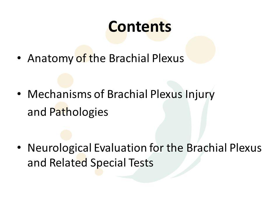 Contents Anatomy of the Brachial Plexus Mechanisms of Brachial Plexus Injury and Pathologies Neurological Evaluation for the Brachial Plexus and Related Special Tests