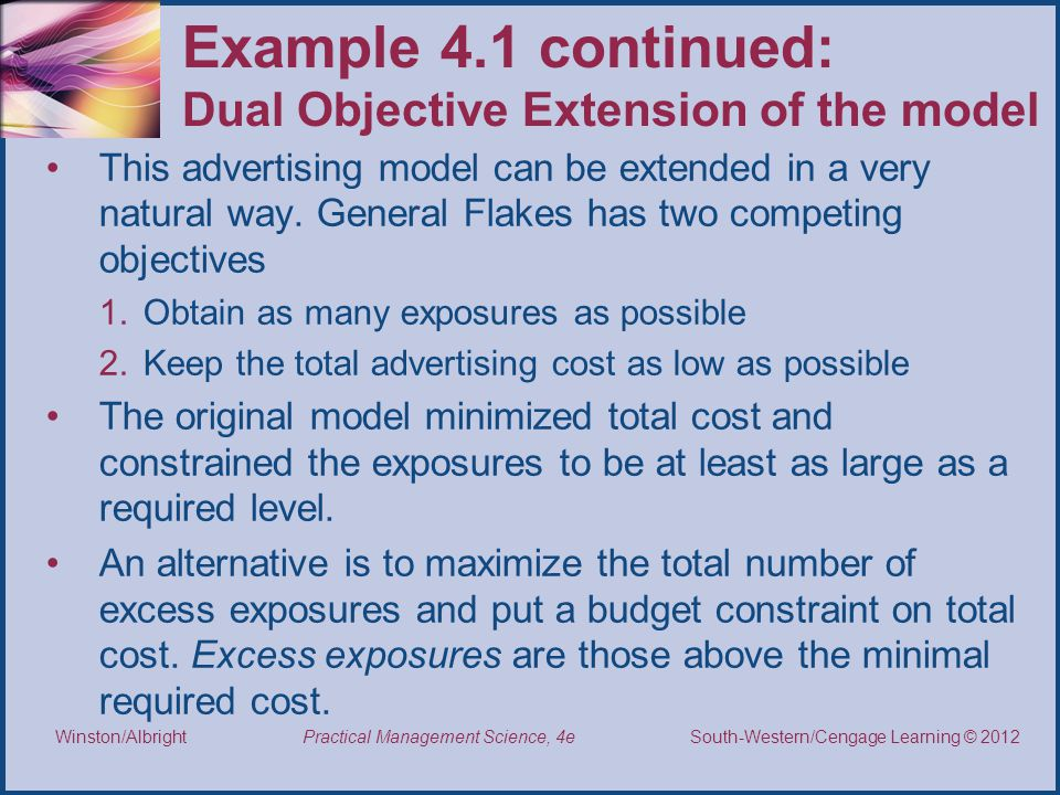 Thomson/South-Western 2007 © South-Western/Cengage Learning © 2012 Practical Management Science, 4e Winston/Albright Example 4.1 continued: Dual Objective Extension of the model This advertising model can be extended in a very natural way.