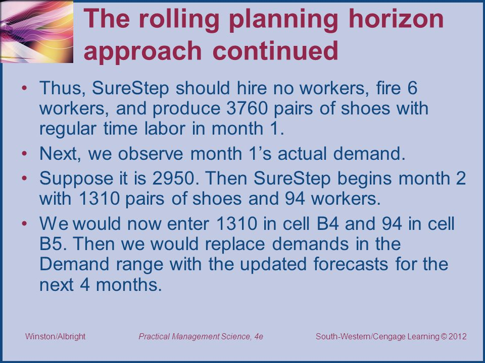 Thomson/South-Western 2007 © South-Western/Cengage Learning © 2012 Practical Management Science, 4e Winston/Albright The rolling planning horizon approach continued Thus, SureStep should hire no workers, fire 6 workers, and produce 3760 pairs of shoes with regular time labor in month 1.