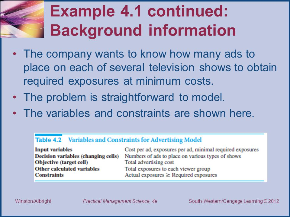 Thomson/South-Western 2007 © South-Western/Cengage Learning © 2012 Practical Management Science, 4e Winston/Albright Example 4.1 continued: Background information The company wants to know how many ads to place on each of several television shows to obtain required exposures at minimum costs.
