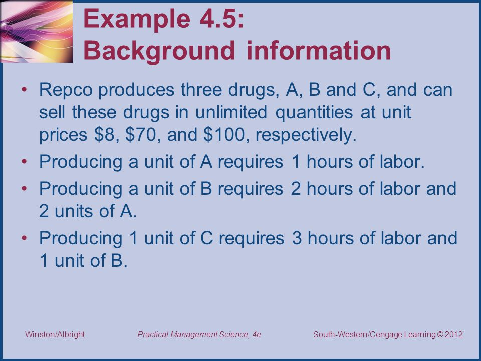 Thomson/South-Western 2007 © South-Western/Cengage Learning © 2012 Practical Management Science, 4e Winston/Albright Example 4.5: Background information Repco produces three drugs, A, B and C, and can sell these drugs in unlimited quantities at unit prices $8, $70, and $100, respectively.