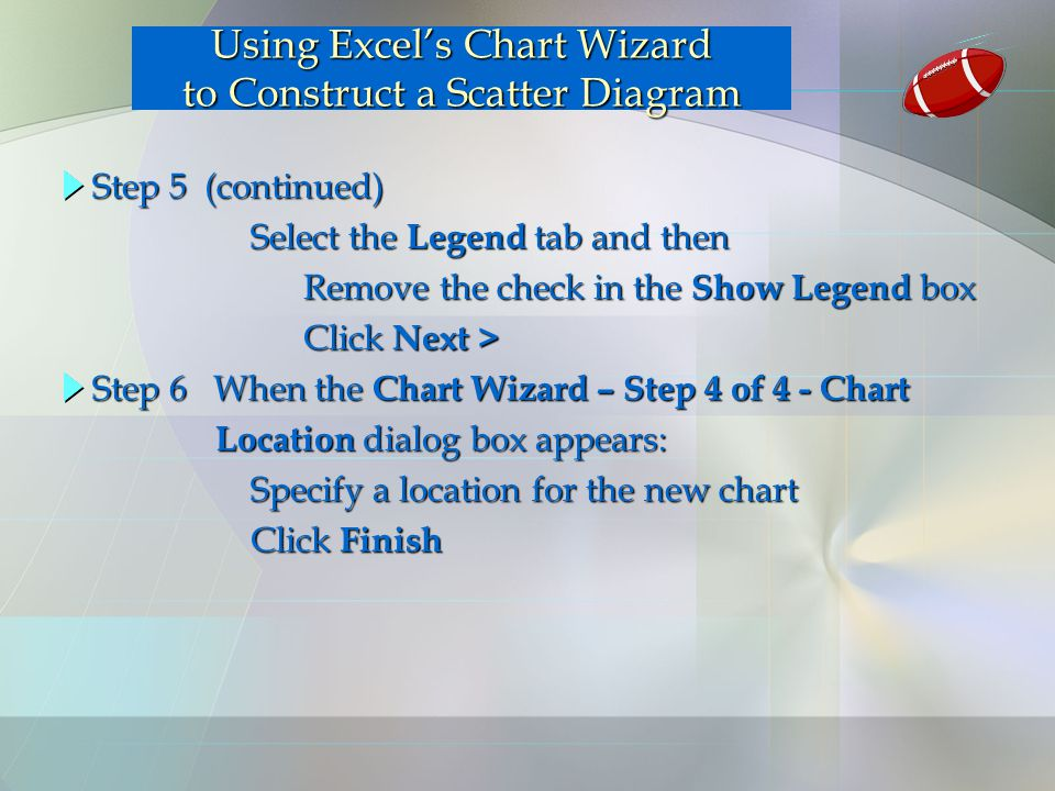 Step 5 (continued) Select the Legend tab and then Select the Legend tab and then Remove the check in the Show Legend box Click Next > Click Next > Usi
