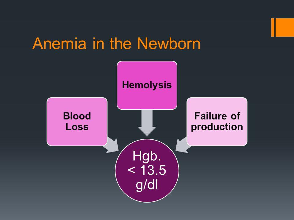 Hgb. < 13.5 g/dl Blood Loss Hemolysis Failure of production