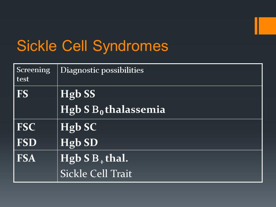 Sickle Cell Syndromes Screening test Diagnostic possibilities FSHgb SS Hgb S   thalassemia FSC FSD Hgb SC Hgb SD FSA Hgb S   thal.