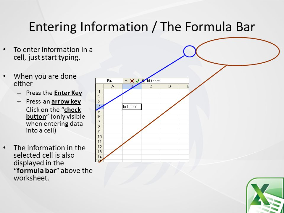 Entering Information / The Formula Bar 7 To enter information in a cell, just start typing.