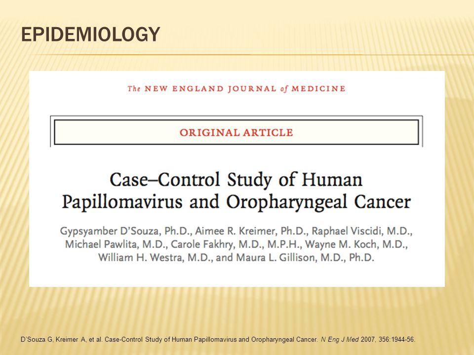 EPIDEMIOLOGY D'Souza G, Kreimer A, et al.