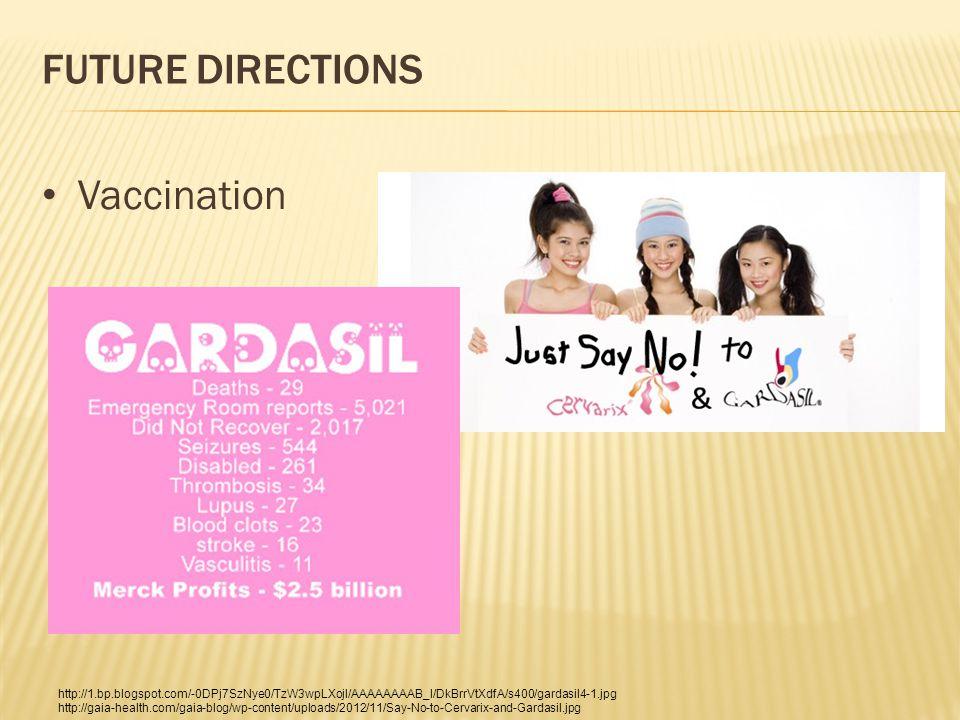 FUTURE DIRECTIONS Vaccination http://1.bp.blogspot.com/-0DPj7SzNye0/TzW3wpLXojI/AAAAAAAAB_I/DkBrrVtXdfA/s400/gardasil4-1.jpg http://gaia-health.com/gaia-blog/wp-content/uploads/2012/11/Say-No-to-Cervarix-and-Gardasil.jpg