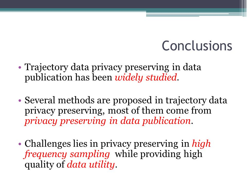 Conclusions Trajectory data privacy preserving in data publication has been widely studied. Several methods are proposed in trajectory data privacy pr
