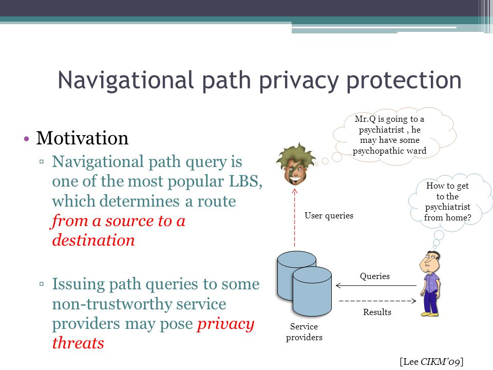 Navigational path privacy protection Motivation ▫Navigational path query is one of the most popular LBS, which determines a route from a source to a d