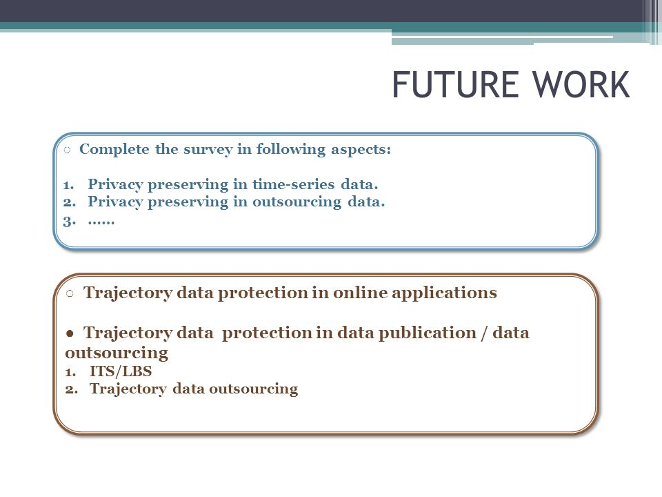 FUTURE WORK ○ Complete the survey in following aspects: 1.Privacy preserving in time-series data. 2.Privacy preserving in outsourcing data. 3.…… ○ Com