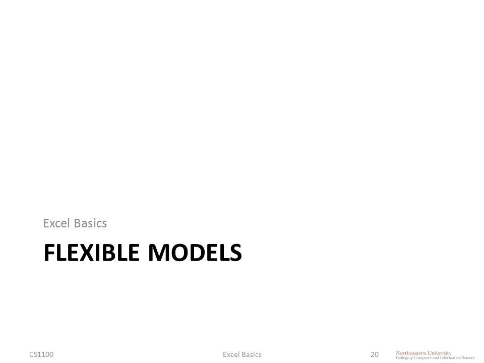 FLEXIBLE MODELS Excel Basics CS1100Excel Basics20