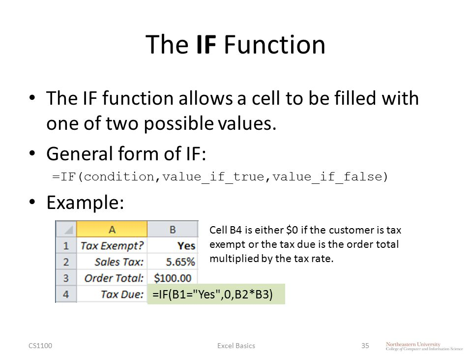 The IF Function The IF function allows a cell to be filled with one of two possible values. General form of IF: =IF(condition,value_if_true,value_if_f