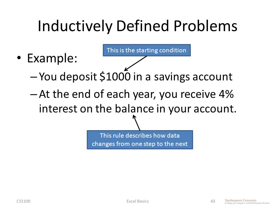 Inductively Defined Problems Example: – You deposit $1000 in a savings account – At the end of each year, you receive 4% interest on the balance in yo