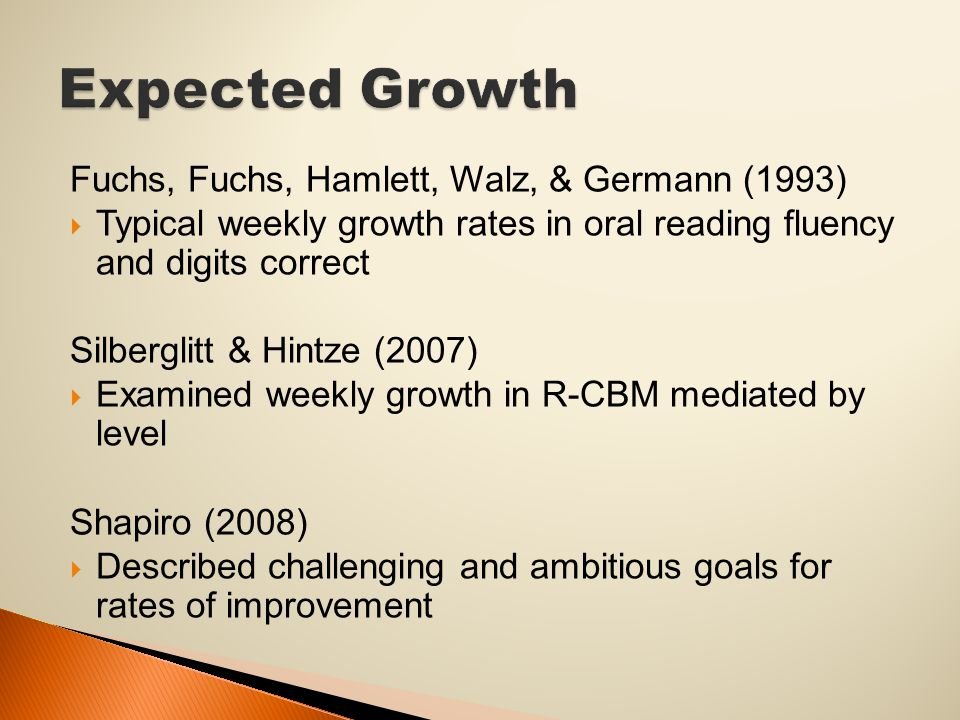Fuchs, Fuchs, Hamlett, Walz, & Germann (1993)  Typical weekly growth rates in oral reading fluency and digits correct Silberglitt & Hintze (2007)  Examined weekly growth in R-CBM mediated by level Shapiro (2008)  Described challenging and ambitious goals for rates of improvement