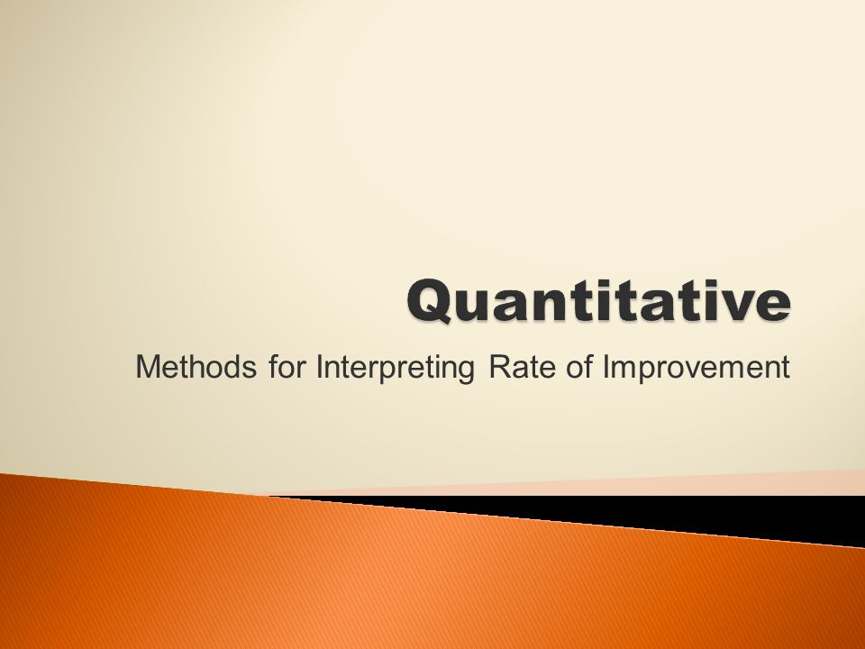 Methods for Interpreting Rate of Improvement