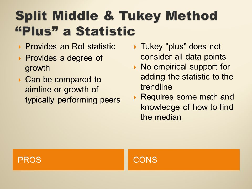 PROSCONS  Provides an RoI statistic  Provides a degree of growth  Can be compared to aimline or growth of typically performing peers  Tukey plus does not consider all data points  No empirical support for adding the statistic to the trendline  Requires some math and knowledge of how to find the median