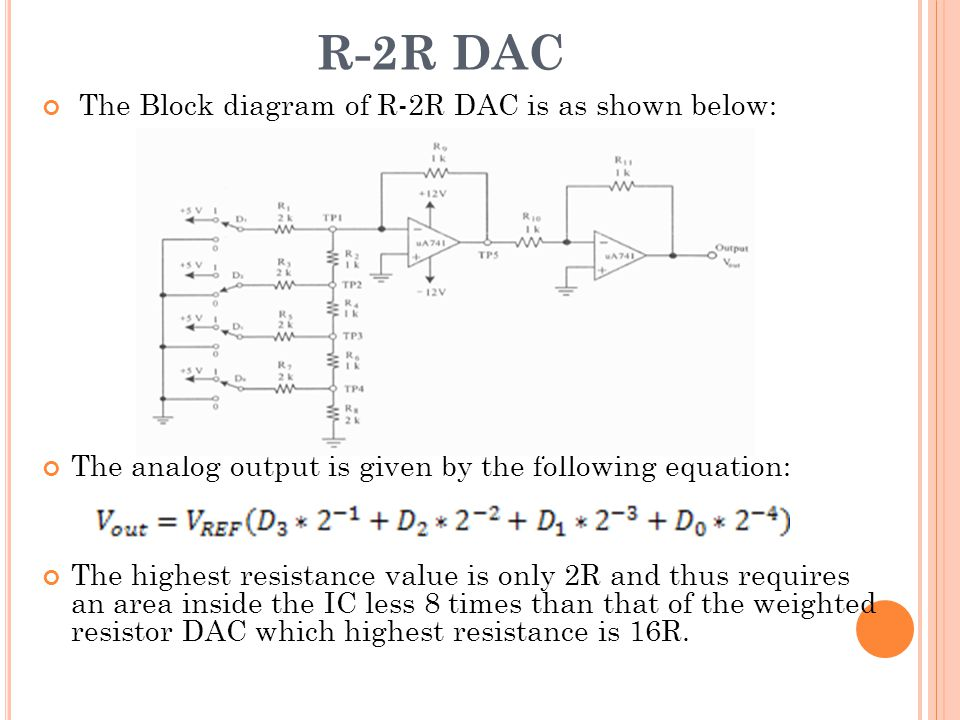 R-2R DAC The Block diagram of R-2R DAC is as shown below: The analog output is given by the following equation: The highest resistance value is only 2