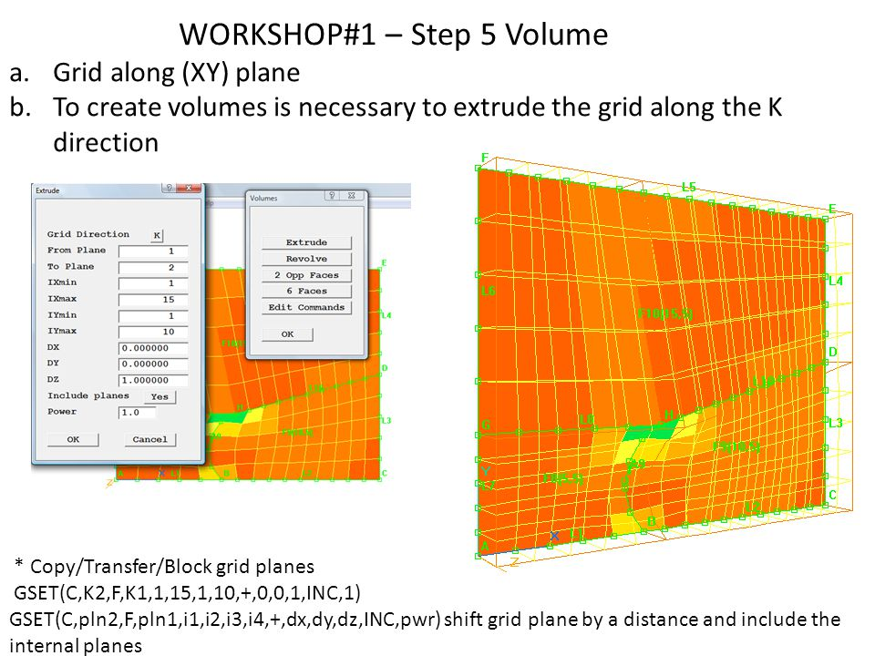 WORKSHOP#1 – Step 5 Volume a.Grid along (XY) plane b.To create volumes is necessary to extrude the grid along the K direction * Copy/Transfer/Block grid planes GSET(C,K2,F,K1,1,15,1,10,+,0,0,1,INC,1) GSET(C,pln2,F,pln1,i1,i2,i3,i4,+,dx,dy,dz,INC,pwr) shift grid plane by a distance and include the internal planes