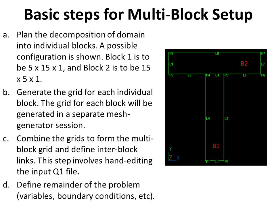 Basic steps for Multi-Block Setup a.Plan the decomposition of domain into individual blocks.