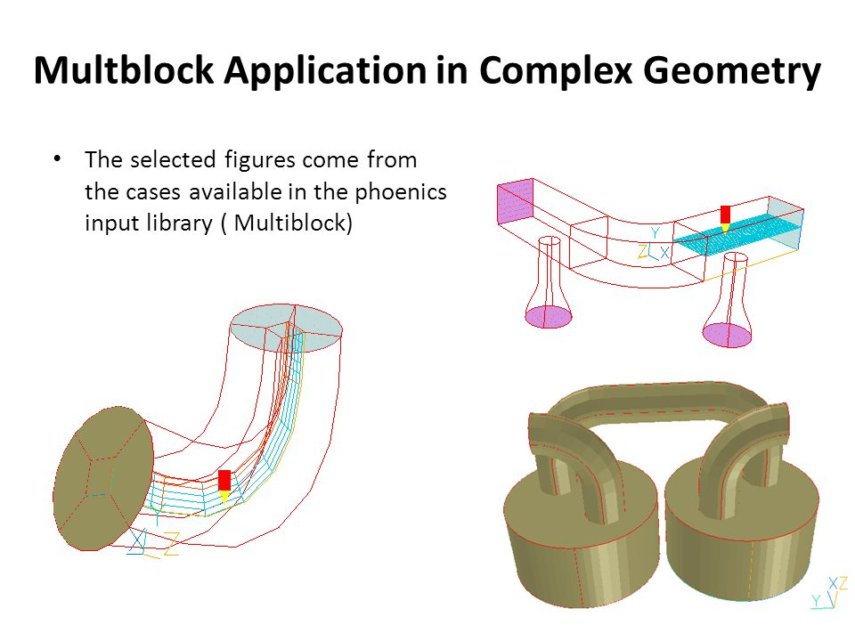 Multblock Application in Complex Geometry The selected figures come from the cases available in the phoenics input library ( Multiblock)