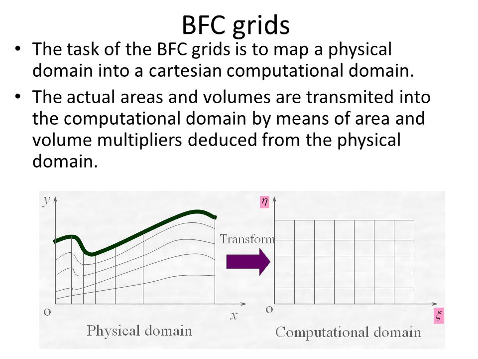 BFC grids The task of the BFC grids is to map a physical domain into a cartesian computational domain.