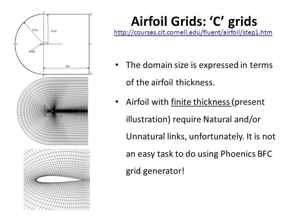 Airfoil Grids: 'C' grids http://courses.cit.cornell.edu/fluent/airfoil/step1.htm The domain size is expressed in terms of the airfoil thickness.