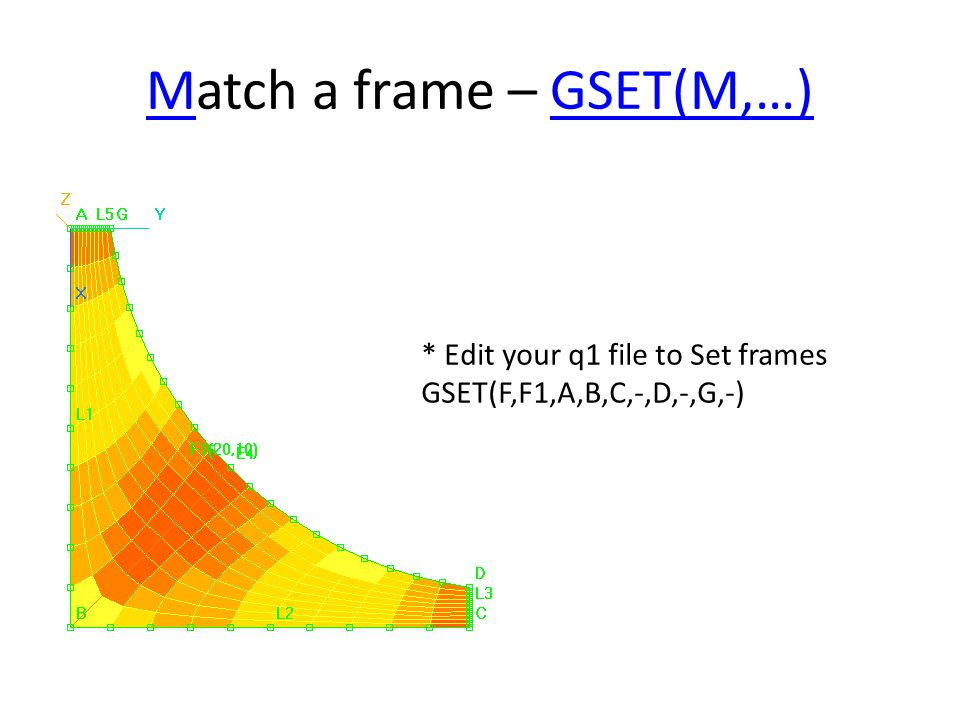 MMatch a frame – GSET(M,…)GSET(M,…) * Edit your q1 file to Set frames GSET(F,F1,A,B,C,-,D,-,G,-)