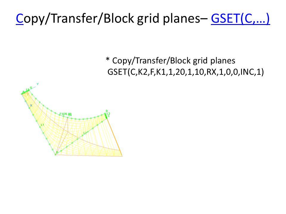 CCopy/Transfer/Block grid planes– GSET(C,…)GSET(C,…) * Copy/Transfer/Block grid planes GSET(C,K2,F,K1,1,20,1,10,RX,1,0,0,INC,1)