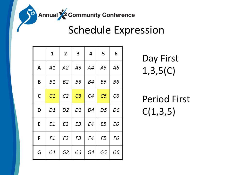 Schedule Expression 123456 AA1A2A3A4A5A6 BB1B2B3B4B5B6 CC1C2C3C4C5C6 DD1D2D3D4D5D6 EE1E2E3E4E5E6 FF1F2F3F4F5F6 GG1G2G3G4G5G6 Day First 1,3,5(C) Period First C(1,3,5)