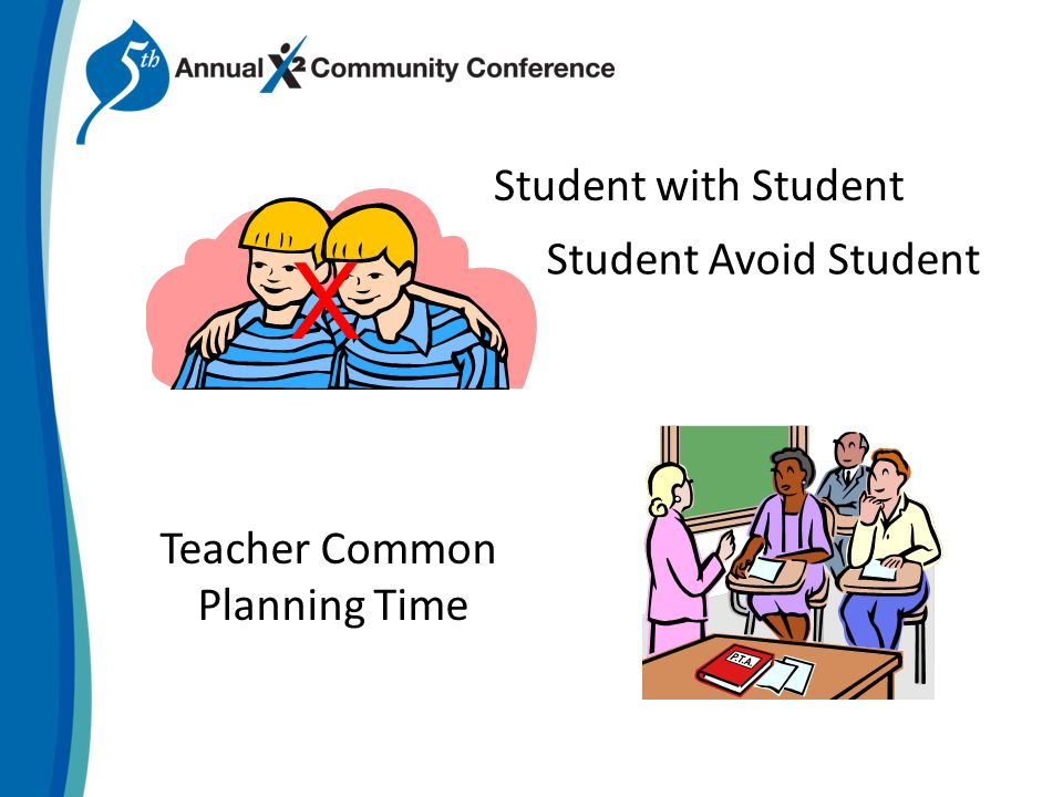 Student with Student Teacher Common Planning Time Student Avoid Student X