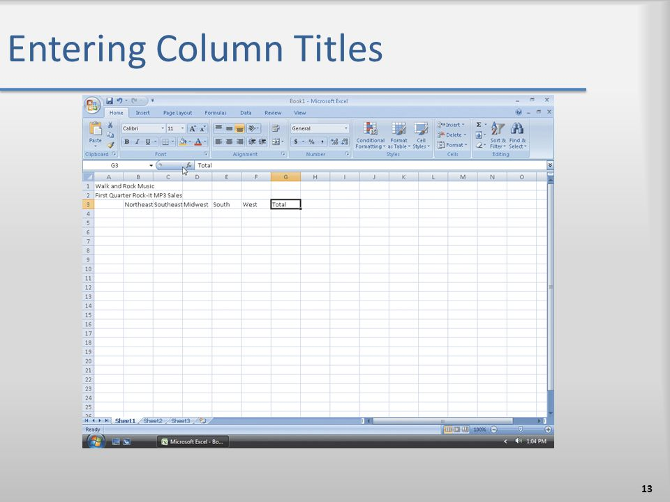 Entering Column Titles 13