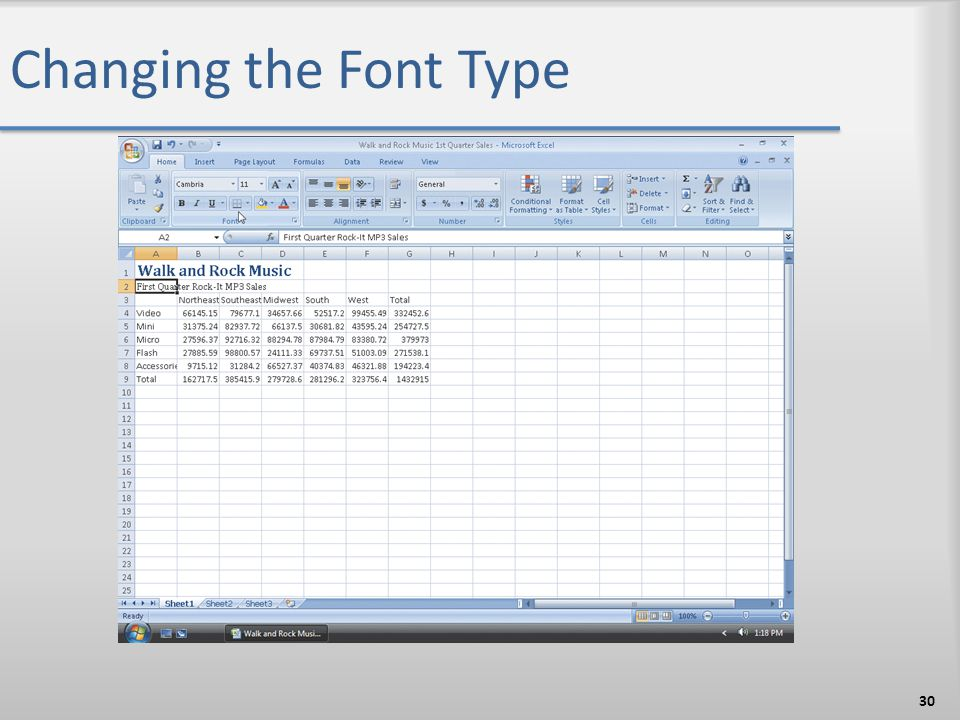 Changing the Font Type 30
