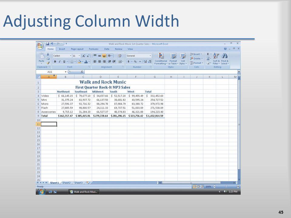 Adjusting Column Width 45