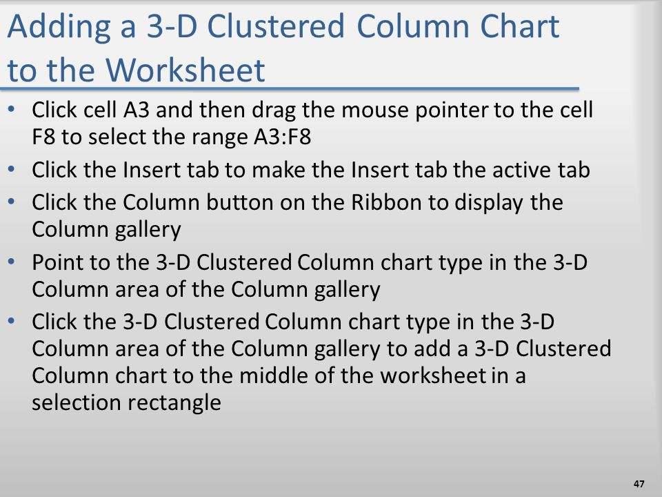 Adding a 3-D Clustered Column Chart to the Worksheet Click cell A3 and then drag the mouse pointer to the cell F8 to select the range A3:F8 Click the